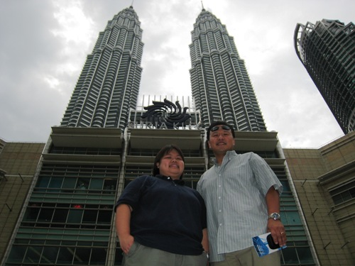 Penny and Me in front of Towers.JPG