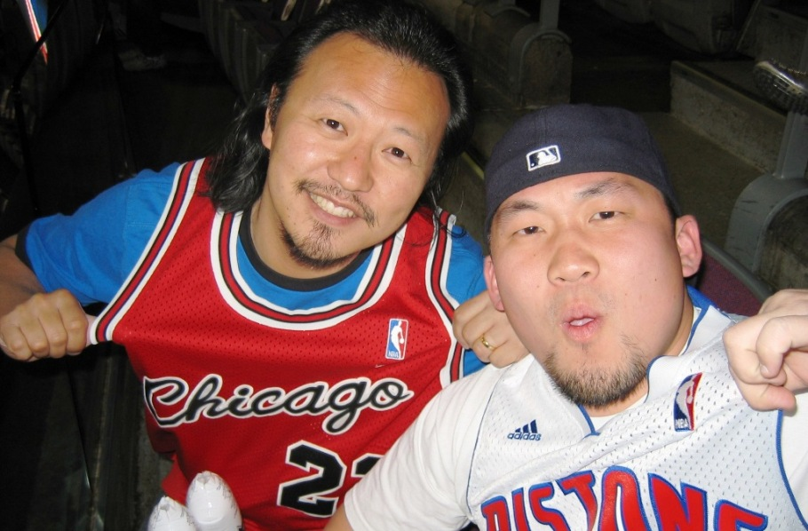 Pistons-Bulls Game - Dyon and me.JPG